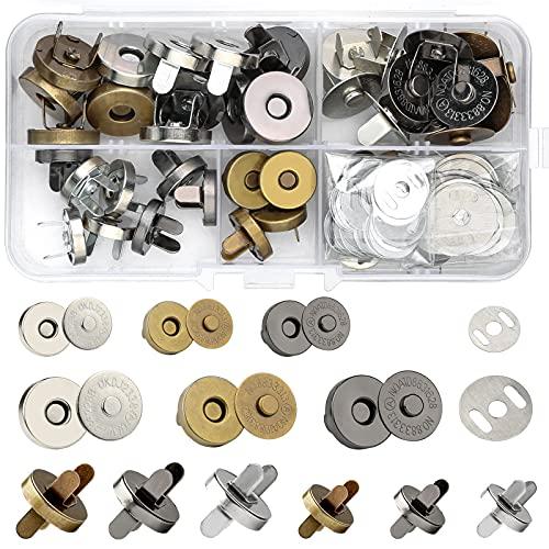 Zhenle 24 botones magnéticos de 14 mm y 18 mm, 3 colores, botones magnéticos para bolsos, abrigos, chaquetas, cortavientos, carteras, mochilas