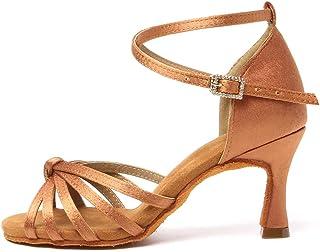 TINRYMX Chaussures de Latine Danse pour Femmes Satin Bout Ouvert Standard de Salon De Mariage Chaussures de Danse,YE-801