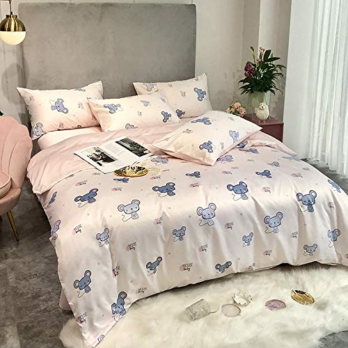 geek cook Bed Sheet Set,Summer washed silk four-piece silk duvet cover naked sleeping ice silk tencel bed-So much cuter_1.5 bed duvet cover 150 * 200