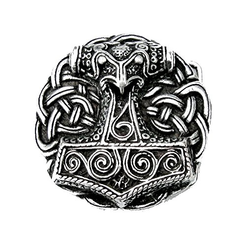 Battle-Merchant Gürtelschnalle - Thorshammer aus Schonen - Wikinger - Thor - Odin - Hammer Farbe Silber