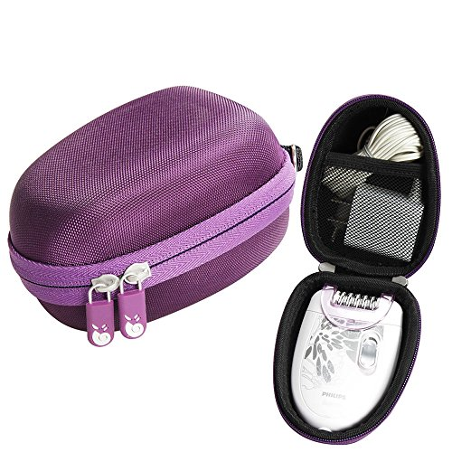 Fits Philips HP6401 Satinelle Epilator Electric Shaver Travel EVA Hard Protective Case Carrying Pouch Cover Bag Purple by Hermitshell