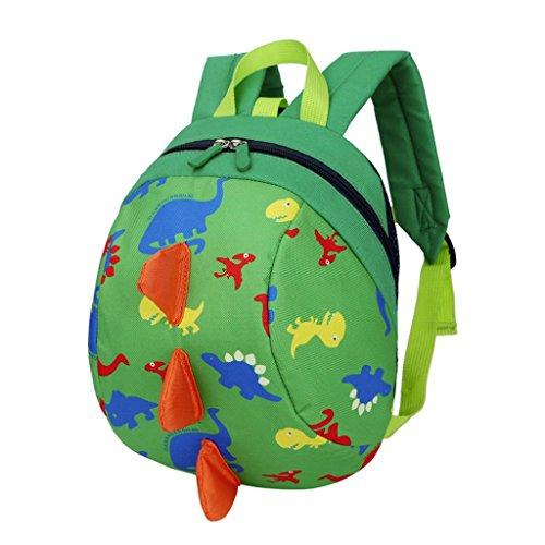 Trada Kindergartentasche, Baby Jungen Mädchen Kinder Dinosaurier Muster Tiere Rucksack Kleinkind Schultasche/Wickelrucksack mit Sicherheitsleinen für Babys/Rucksäcke für kleine Kinder (Grün)
