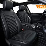2 Pack Car Seat Cushion, Big Ant Sleek Design Full Size Breathable Universal Four Seasons Interior Front or Back Seat Covers for Auto Supplies Office Chair with PU Leather(Black)