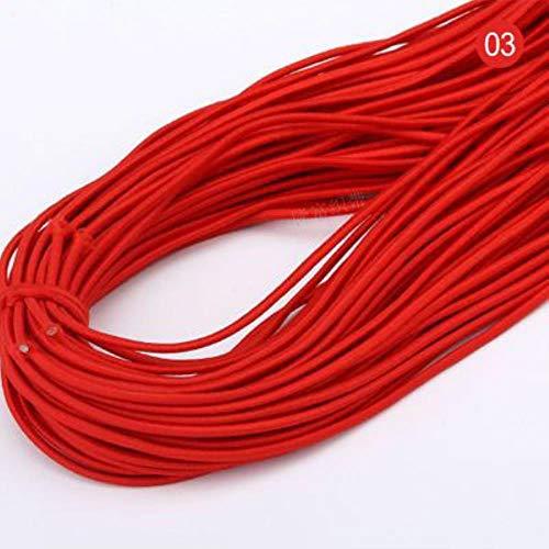 Wenge 2 mm buntes, rundes elastisches Band, rund elastisches Seil, Gummiband, elastische Schnur, Handarbeits- und Nähzubehör, 5 Meter , rot, 5 m