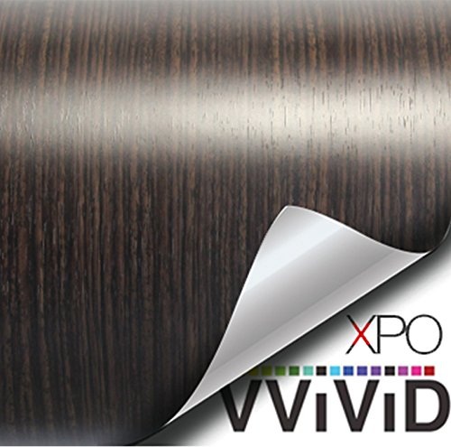 VViViD Dark Ebony Wood Grain Faux Finish Textured Vinyl Wrap Roll Sheet Film for Home Office Furniture DIY No Mess Easy to Install Air-Release Adhesive (1 Foot x 48 Inches)