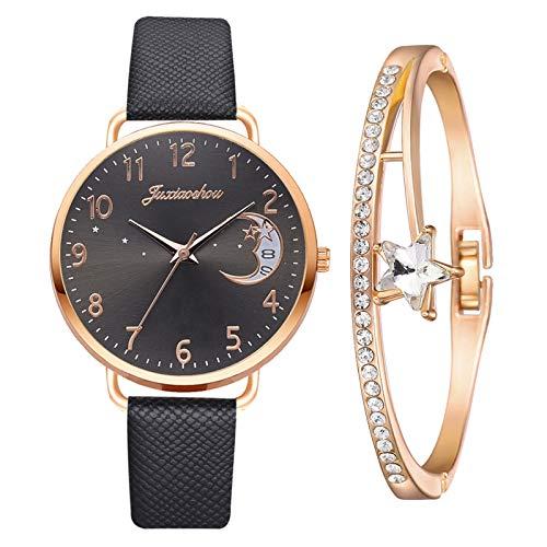 Yue668 Mode Damen Quarz Uhr mit Edelstahl/PU Leder Armband, Lässige Armbanduhr Mit Elegante Armbänder, Frauenuhren Damenuhr Geschenk für Frauen Damen (F3)