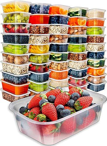 Storite Lebensmittelbehälter mit Deckel, 50 x rechteckig -1000 ml, mikrowellengeeignet, transparente Kunststoffbehälter für Einfrieren, Mitnehmen, heiße-kalte Lebensmittel, BPA-frei (1000 ml)