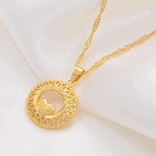 ZGYFJCH Co.,ltd Halskette Frau Halskette Herz Halsketten für Frauen Gold Farbe Herz Schimmel Kette Mode Herz Hochzeitsfeier Mutter Geschenk
