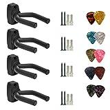 4unidades gancho para montaje en pared de guitarra pantalla soporte para guitarra acústica ukelele Bass mandolina Banjo soportes de pared Perchas negro con 10pcs Púas