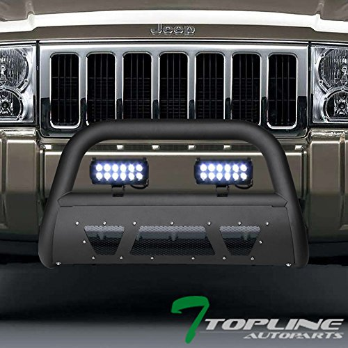 Topline Autopart Matte Black Studded Mesh Bull Bar Brush Push Front Bumper Grill Grille Guard With Skid Plate + 36W CREE LED Fog Lights For 05-07 Jeep Grand Cherokee / 06-10 Commander