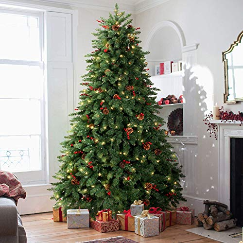 LIFEFAIR 9FT Prelit Christmas Tree, Decorated with 850 Clear Lights and Realistic 2206 Thicken Tips, Hinged UL Certified