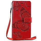 Yiizy Handyhüllen für Honor 9X / Honor 9X Pro Ledertasche, 3D Schmetterling Stil Lederhülle Brieftasche Schutzhülle für Honor 9X hülle Silikon Cover mit Magnetverschluss Kartenfächer (Rot)
