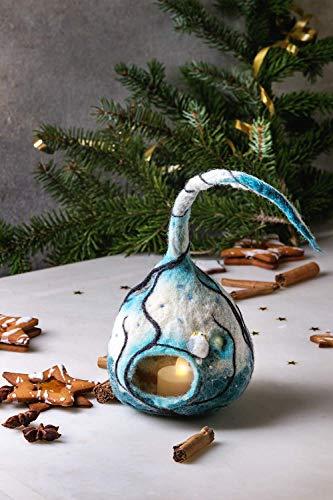 Handgemachte gefilzte Weihnachtsdekoration Laterne Lampe mit Bäumen Eule Winter Kerzenhalter LED-Leuchten Seasontable