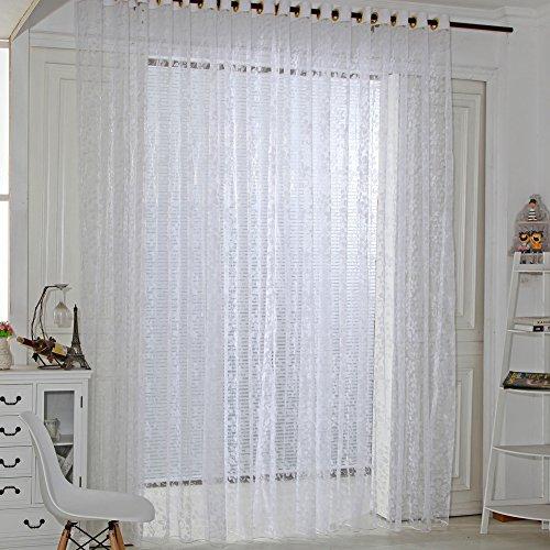 Amazingdeal365 Spitzen Vorhang Flugfensterdeko Voile Gardinen Schal 2m *1 m Set für Tür Schlafzimmer Wohnzimmer Kinderzimmer Balkon Terasse Spielzimmer (Weiß)