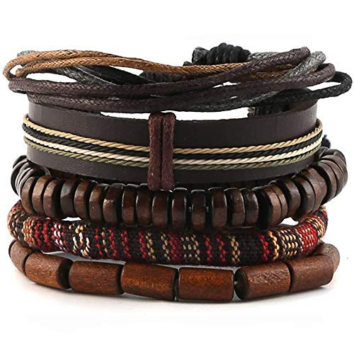 Mix 4 pulseras envolventes – Pulsera de madera con cuentas – Cuerdas de cáñamo Cuentas de madera Étnicas Tribal Pulseras