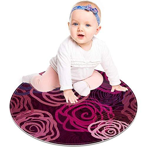 MUOOUM Fliederfarbene Textur mit abstrakten Rosen, runder Teppich, waschbar, Bodenmatte, weich, saugfähig, für Wohnzimmer, Küche, Badteppich