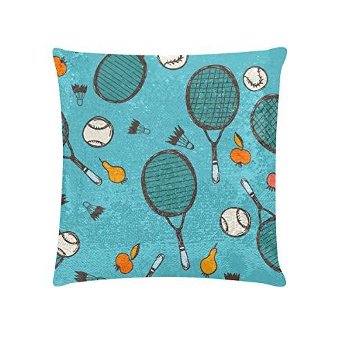 Funda de almohada colorida Funda de almohada de raqueta de bádminton y raqueta de tenis Fundas de almohada de lentejuelas de 18 x 18 pulgadas Fundas de almohada brillantes vintage reversibles Decorac