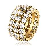 男性と女性の大粒ジルコンリング、ヒップホップヒップスターストリート愛好家は婚約指輪ギフトお土産ジュエリー(金、銀)が大好きです。-gold-11