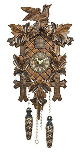 Alemán Reloj de cuco - con mecanismo de cuarzo - tallado en madera - 35 cm - Auténtico reloj de cuco del bosque negro - de Trenkle Uhren
