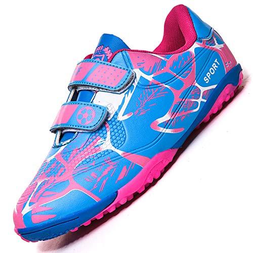 Unitysow Botas de Fútbol Niños Aire libre deporte Cesped Artificial Zapatillas de Futbol Adolescentes Training Zapatos de Fútbo,Rosa Rojo,35 EU