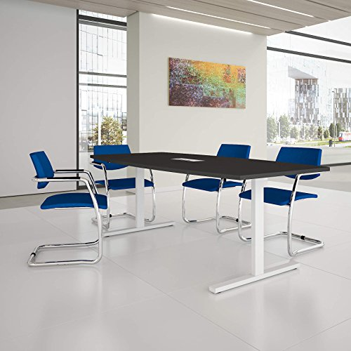 Easy Konferenztisch Bootsform 200x100 cm Anthrazit mit Elektrifizierung Besprechungstisch Tisch, Gestellfarbe:Weiß