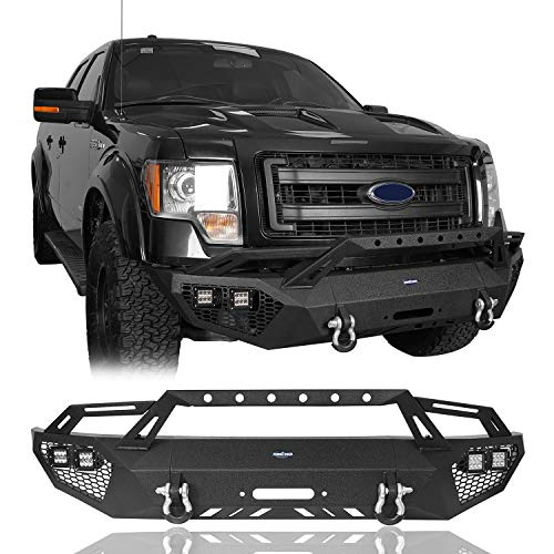 u-Box F-150 Full Width Front Bumper w/Grill Guard Compatible with 2009-2014 Ford F150 (Excluding Raptor)