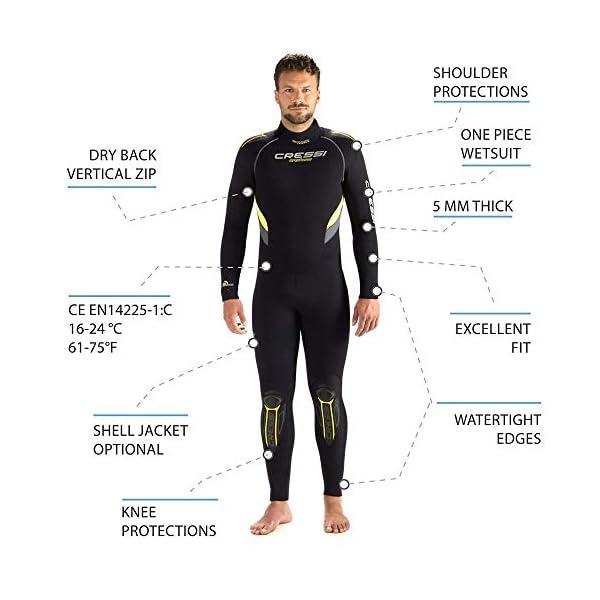 Cressi Castoro Men's Monopiece Wetsuit 5mm Modular Diving