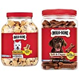 Milk-Bone Dog Treats Bundle: 40-Ounce Canister Marosnacks, 25-Ounce Canister Soft & Chewy Beef & Filet Mignon