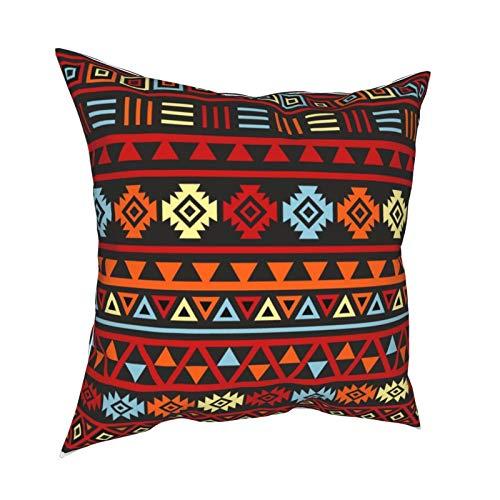 DearLord Fundas de cojín de estilo azteca (grande) Ptn naranja amarillo rojo y negro de doble cara cuadradas, fundas de almohada para sofá dormitorio con cremallera invisible 45,7 x 45,7 cm