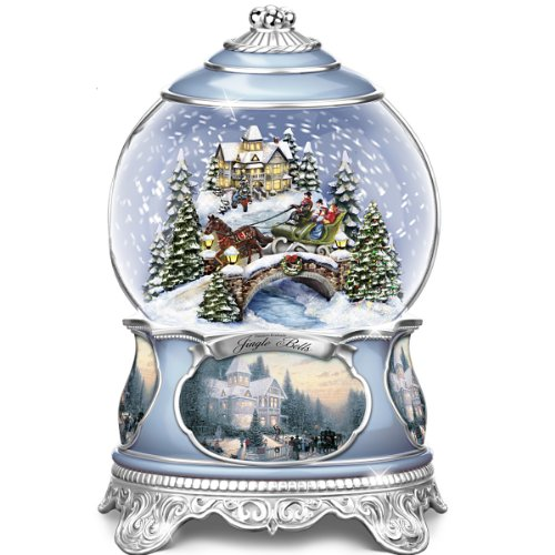 The Bradford Exchange Thomas Kinkade Jingle Bells Christmas Musical Snowglobe