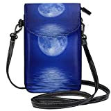 XCNGG bolso del teléfono Small Crossbody Coin Purse Blue Sea Surface MoonPhonepurse for Women Bags Leather Multicolor smart phone Bags Purse With Removable Strap