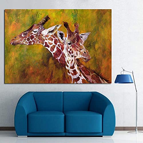 Living Equipment Hand-painted oil painting Handpainted Abstract Giraffes Picture Modern Wall Art Hang Pictures Handmade Animal Oil Painting On Canvas Best Wall Home Decor