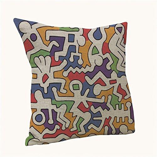 Bluelan Funda Cojin - Federa per cuscino astratta Keith Haring, per sedia, divano, decorazione