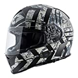 Torc T14B Blinc Loaded Force Mako Full Face Helmet (Flat Black with Graphic, XX-Large)