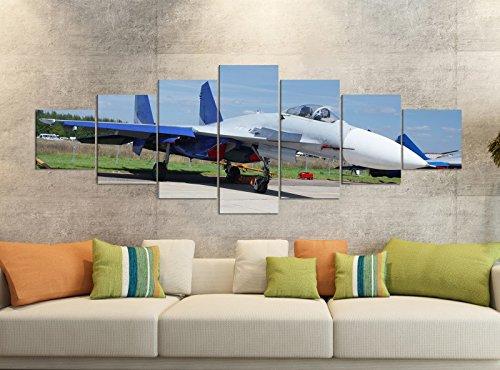 Foto's op canvas 7-delig 280x100cm MIG 29 Vechtjet vliegtuig wapen leger linnen afbeelding delen delen kunstdruk druk druk vlies muurschildering meerdelig 9YB1149