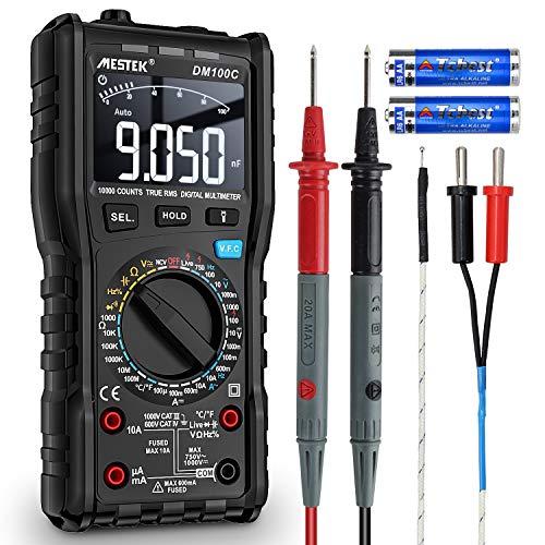 Multímetro Digital de Voltaje Corriente AC DC MESTEK Auto Manual Ranging Ture-RMS NCV VFC Amp Volt Ohm Hz Resistencia de Diodo Frecuencia Capacitancia Temperatura Battery Tester