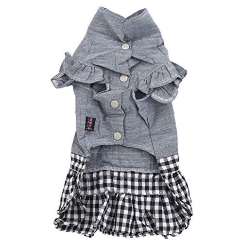 SJHFG Hunde-Bekleidung Jeans-Rock-Bow-Knot Dekoration Kleiner Hund Kleid Welpen Kostüm Outfits Hochzeit Geburtstag-Party-Kleid,XL