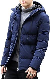 コート・ジャケット メンズ ダウン式コート アウター ダウンジャケット 中綿 冬服 厚手 分厚い 暖かい フード付き ブラック 黒 無地 防風防寒