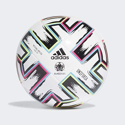 adidas Boys UNIFO LGE J350 Soccer Ball, White/Black/Signal Green/Bright Cyan, 4