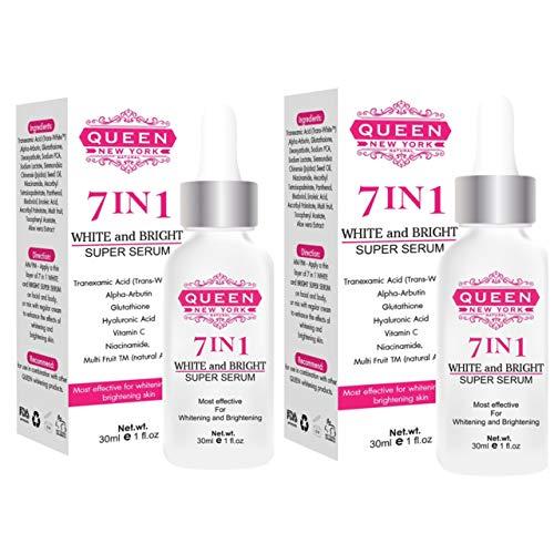 Pack of 2 -QUEEN NATURAL NEW YORK   7in1 White and Bright Super Serum-5% Tranexamic Acid,5% Kojic Acid,5% Alpha arbutin-Dark Spot Remover Melasma Treatment Cruelty Free Anti Aging Vegan(7in1)