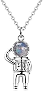 Jude Jewelers Astronauts Spaceman Universe Earth Moonstone Pendant Women Men Girls Boys Necklace