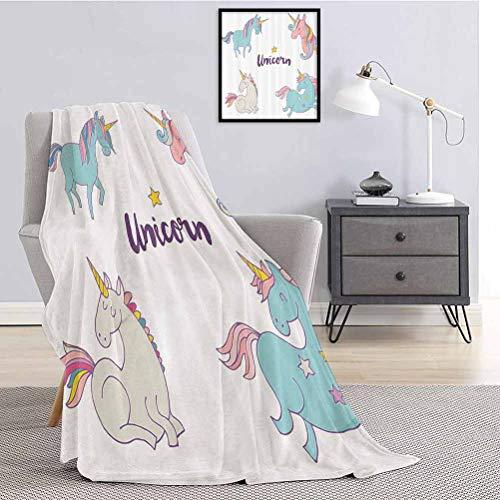 Unicornio hogar y niños decoración suave multi-tamaño mantas diferentes unicornio femenino encanto Believe Wish Sublime Animal Concept manta de felpa para sofá cama W54 x L72 pulgadas Multi