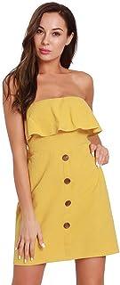 エレガントなドレス 夏の女性弾性ウエストセクシーなラッフルラップドレスドレススカート 快適なスカート (色 : 黄, サイズ : S)
