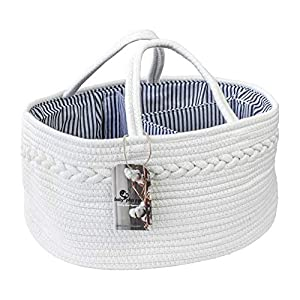 Baby Cotton Rope Diaper Caddy | Chic Portable Nursery Basket with Removable Inserts Large Storage Bin for Baby Essentials Great for Changing Table and Car Organization (White)