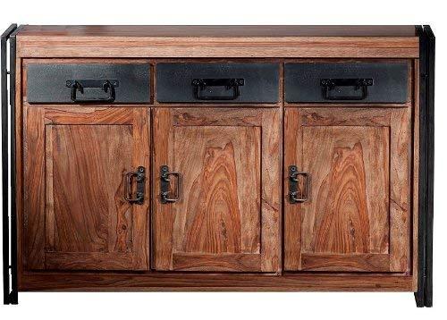 Sit Möbel 9203-01 Sideboard Panama Shesham Natur mit schwerem Altmetall und Gebrauchsspuren, 140 x 40 x 90 cm, 3 Türen, 3 Schubläden
