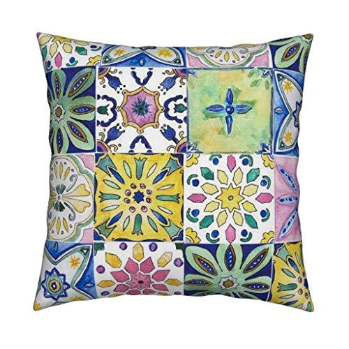 Ad4ssdu4 Funda de almohada estilo bohemio con azulejos andaluz españoles para decoración de sofá