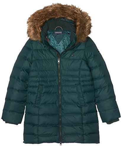 Tommy Hilfiger Mädchen AME THKG DG Basic Coat Jacke, Grün (Green Gables 307), 128 (Herstellergröße:8)