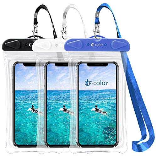 F-color Waterproof Phone Pouch, Universal 3 Pack Waterproof Phone Case PVC Dry Bag for Swimming Boating Skiing Rafting, Compatible with iPhone Xs 8 7 6S Plus Galaxy Up to 6.7 inch, Black, White, Blue