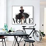 ZXFMT Impresiones En Lienzo Figura Posters E Impresiones Vogue Wall Art Pintura Sobre Lienzo Decoración Del Hogar No Marco 50x50cm Sin Marco, 3cm