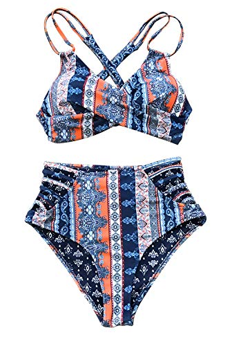 CUPSHE Women's Boho Print Lace Cross Front High Waist Bikini Medium Blue